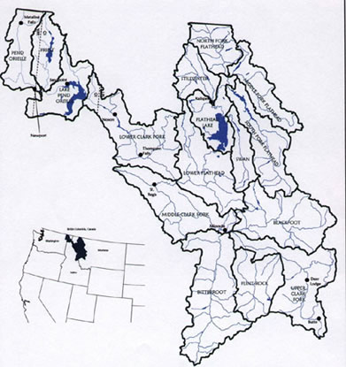 map of Clark Fork watershed